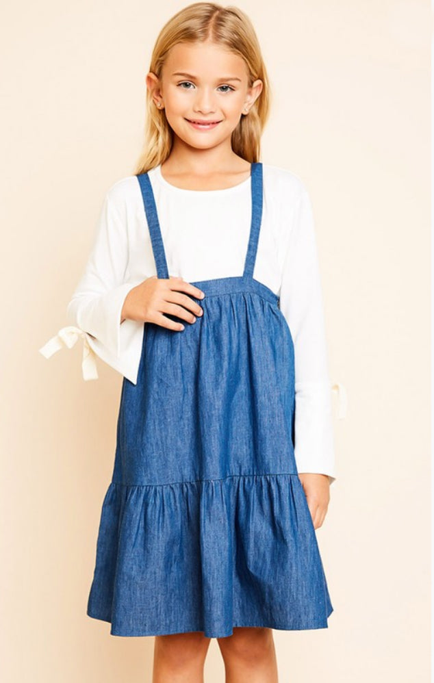 Kids Overall Denim Dress with a Ruffled Hem