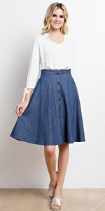 A-Line Flared Button-Down Denim Midi Skirt