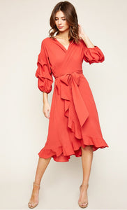 Layered Balloon Sleeve Ruffle Wrap Midi Dress