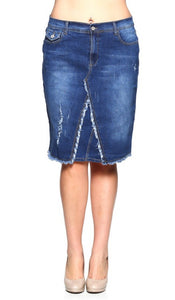 Frayed Edge Denim Pencil Skirt