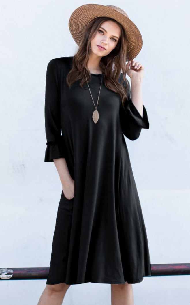 A-Line Midi Dress with Ruffle Sleeves