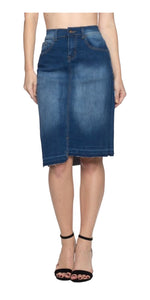 Stepped Hem Washed Denim Pencil Skirt with Frayed Bottom