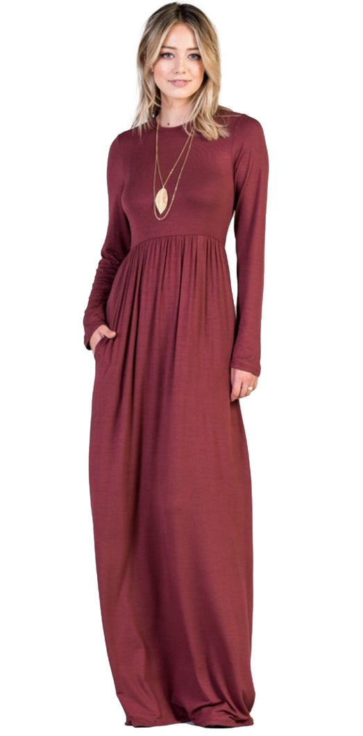 Babydoll High Neck Jersey and Velvet Maxi Dress