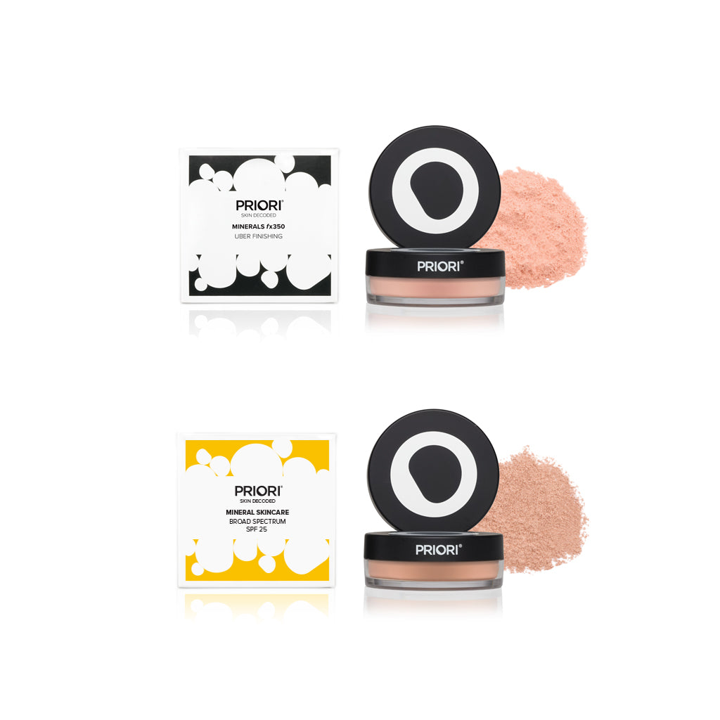 Set of Priori Mineral Foundation Loose Powder and Uber Finishing Powder - Shade 1 Porcelain