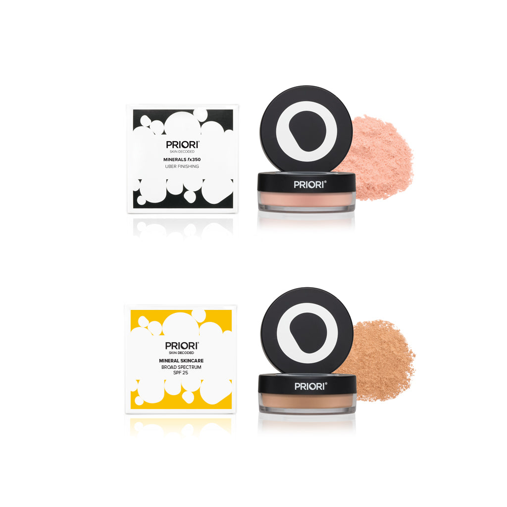 Set of Priori Mineral Foundation Loose Powder and Uber Finishing Powder - Shade 3 Soft Medium