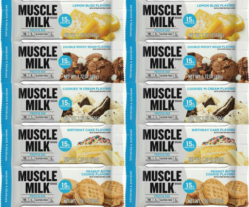 Muscle Milk Blue Bar Variety Pack 10 Pack