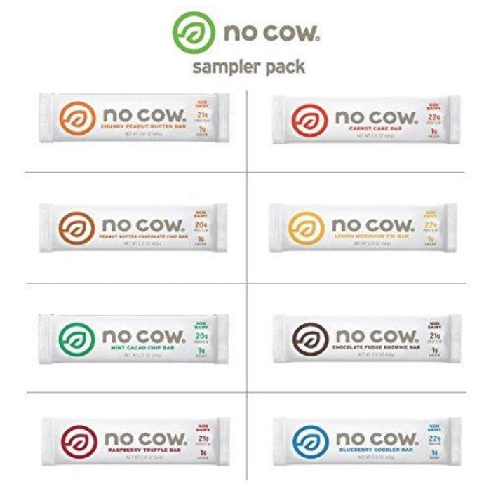 No Cow Plant Based Protein Bar Variety Pack, 8 Count