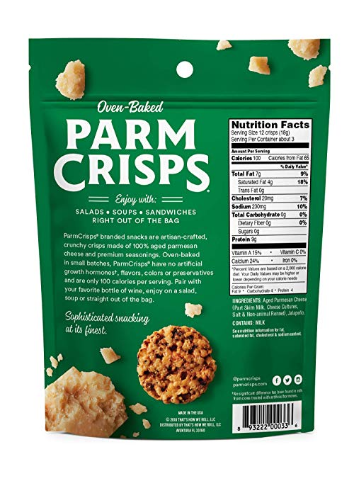 ParmCrisps Variety Pack (Original, Jalapeno, Sesame, Pizza), 100% Cheese Crisps, Keto Friendly, Gluten Free, 1.75oz Bag, 4 Pack