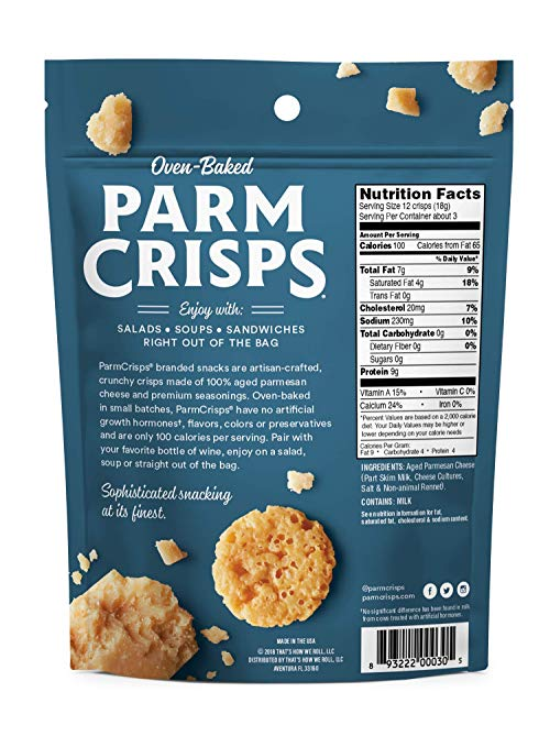 ParmCrisps Variety Pack, Original, Jalapeno, Sesame Flavor, Made From 100% Real Parmesan, Gluten Free, Sugar Free, Keto Friendly, 1.75oz Bag, 3 Pack