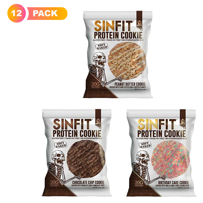 Sinfit Cookies Variety Pack of 12 | Birthday Cake, Chocolate Chip & Peanut Butter