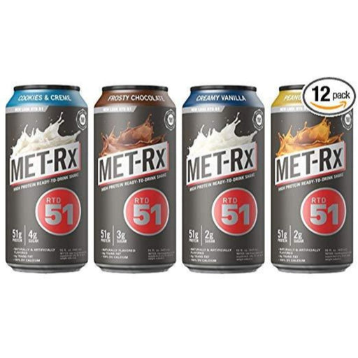 MET Rx RTD 51 High Protein Shakes (4 Flavor Variety Pack)