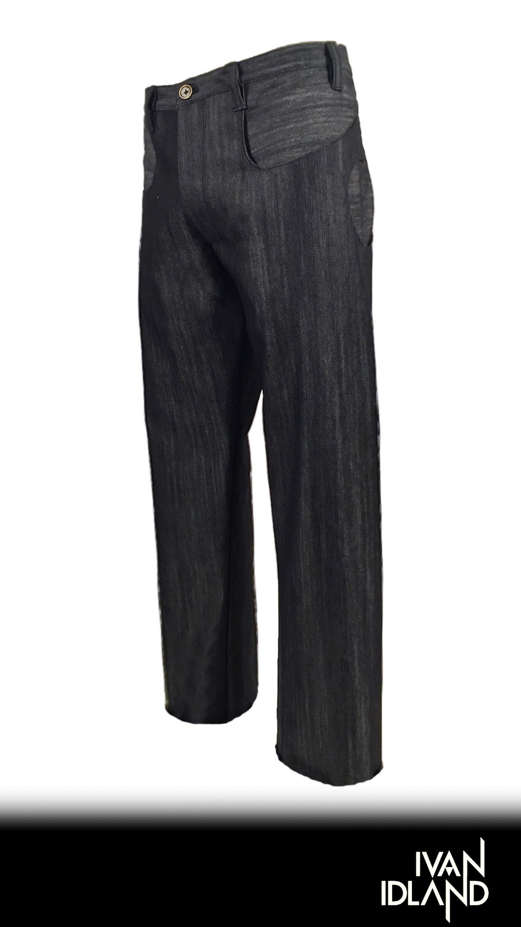 black rough-grain denim pant