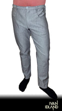 Grey Feathered Denim Pant