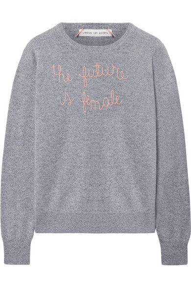 The Future is Female embroidered cashmere sweater
