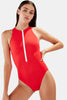 The Daria Zipper Front One-Piece in Red