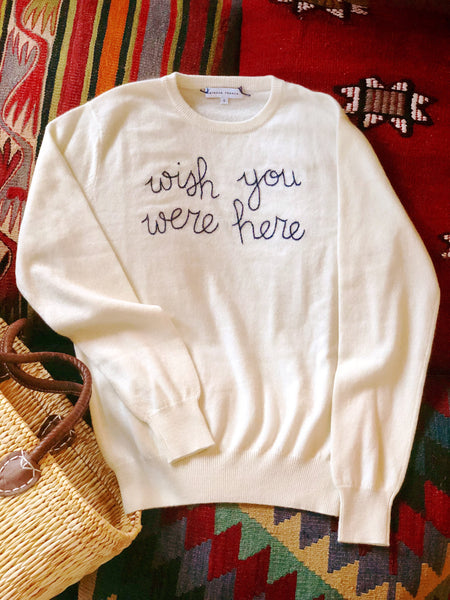 Wish You Were Here Embroidered Cashmere Sweater