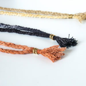 Silk braid necklace clasp close up