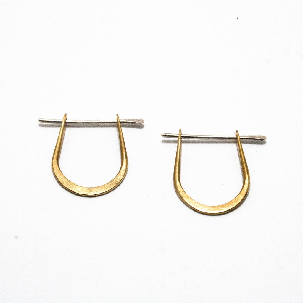 Brass arch hoop earrings