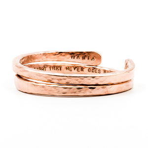 copper hand forged heavy gauge cuffs on white background