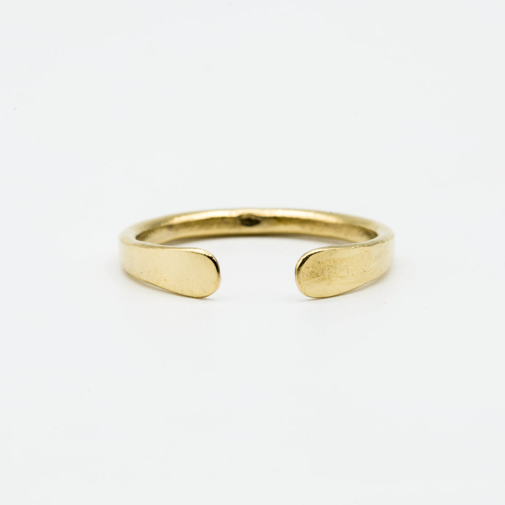 Brass ring with flattened ends
