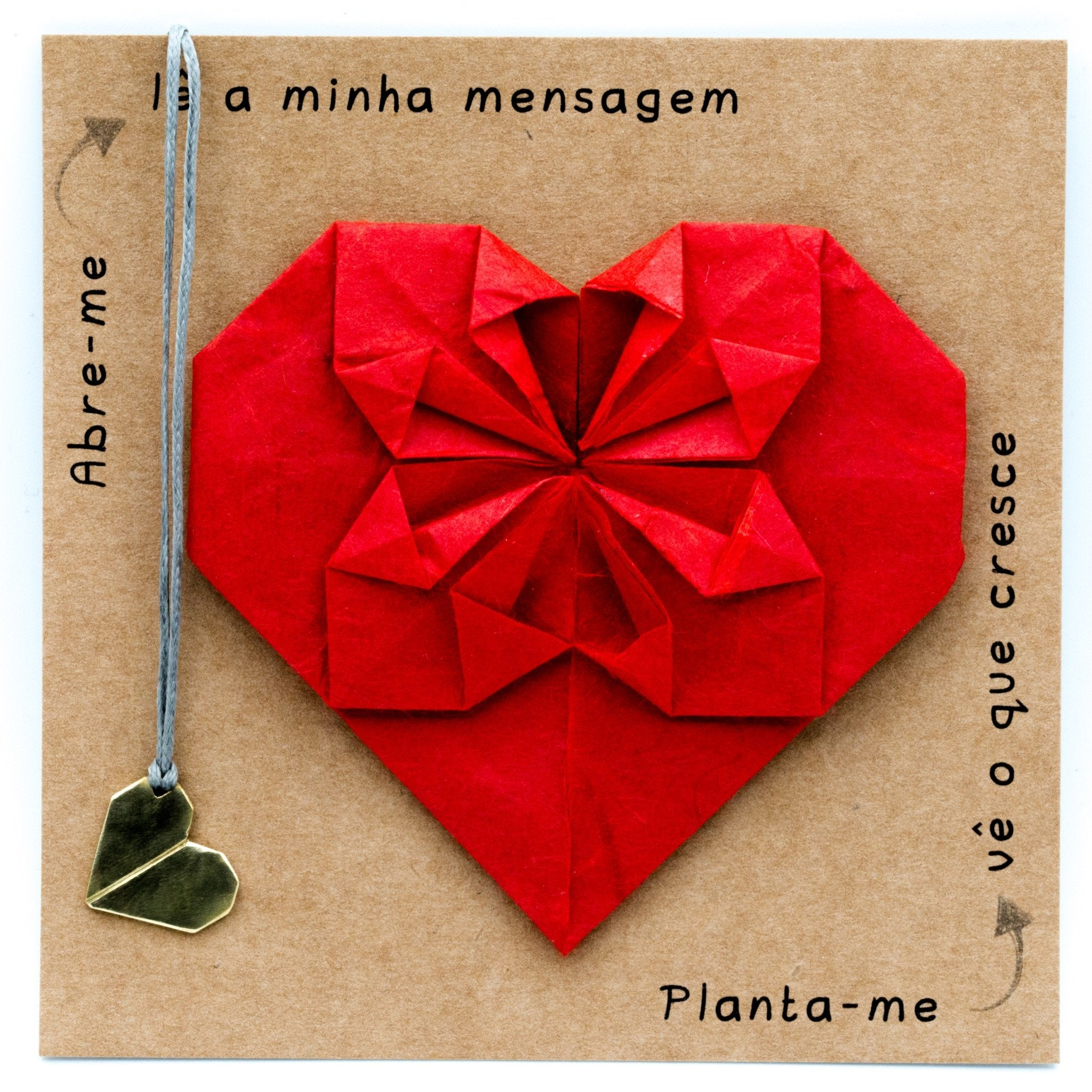 origami heart brass necklace and red origami postcard