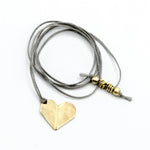 origami heart brass pendant necklace