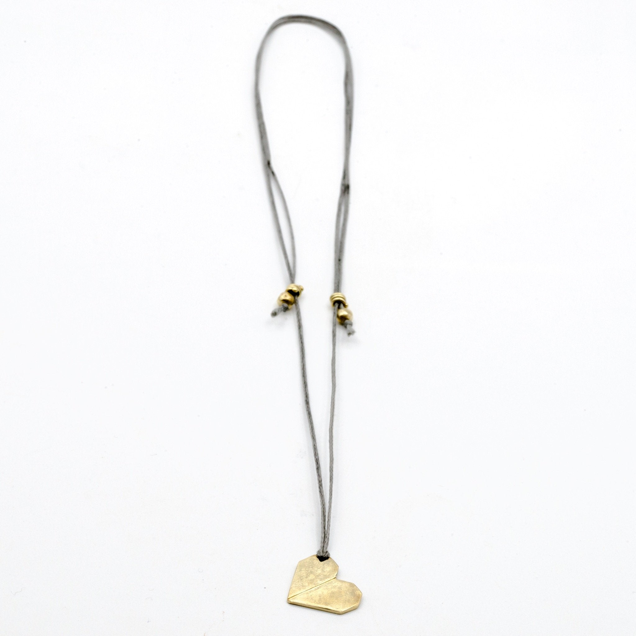 origami heart brass necklace
