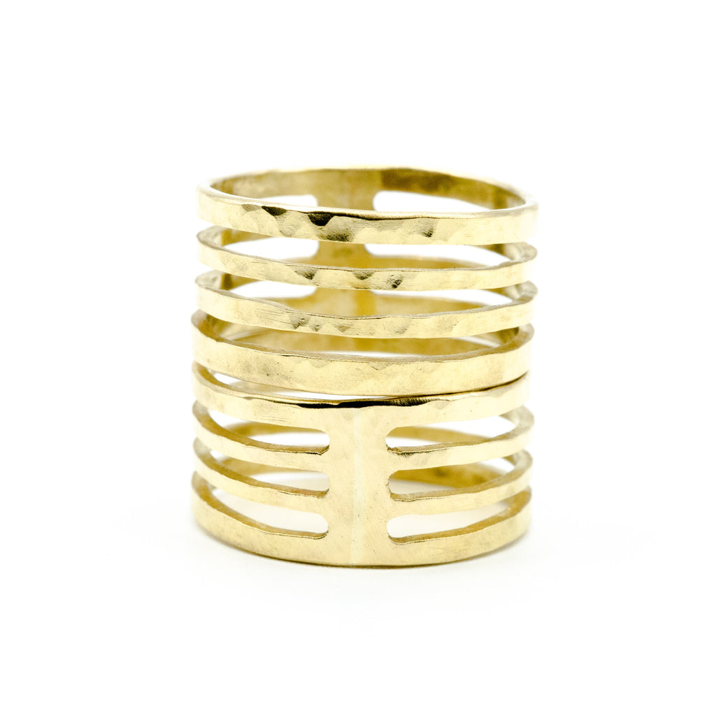cutout brass ring on white background