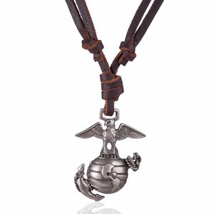 Eagle on Globe Leather Necklace - Aola Brand