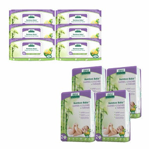 Aleva Naturals Bamboo Size 2 Diaper and Wipes Bundle 120 Diapers and 480 Wipes