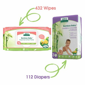 Aleva Naturals Bamboo Size 3 Diaper and Sensitive Wipes Bundle