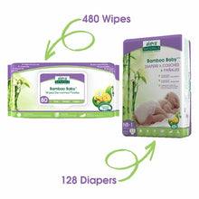 Aleva Naturals Bamboo Size NB Diaper and Wipes Bundle 128 Diapers and 480 Wipes