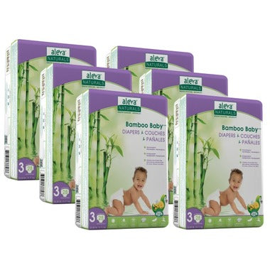 Aleva Naturals Bamboo Baby Diapers Sizes Newborn - 3 6 Pack