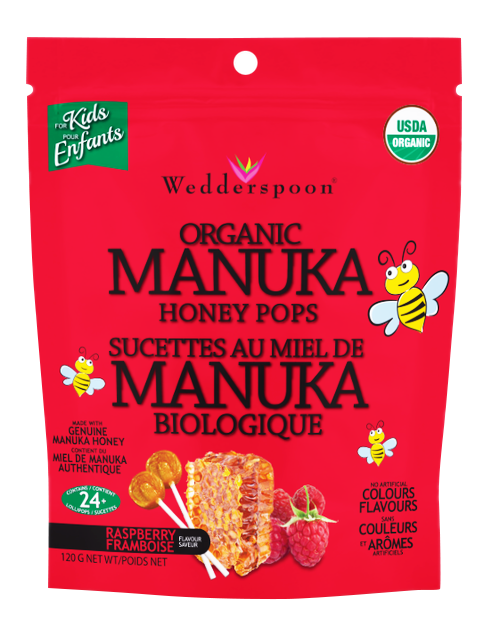 ORGANIC MANUKA HONEY POPS - RASPBERRY