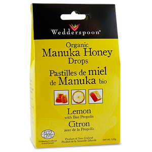 Wedderspoon ORGANIC MANUKA HONEY DROPS WITH LEMON & BEE PROPOLIS