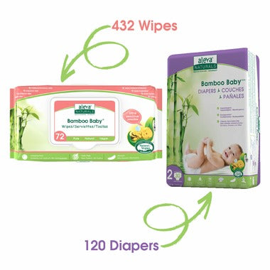 Aleva Naturals Bamboo Size 2 Diaper and Sensitive Wipes Bundle 120 Diapers and 432 Wipes
