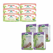Aleva Naturals Bamboo Size NB Diaper and Sensitive Wipes Bundle 128 Diapers and 432 Wipes