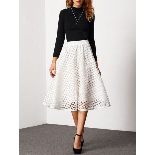 Jewish Girl High Waist Eyelet Circle Skirt