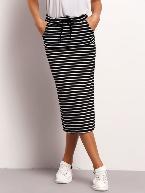 Black and White Drawstring Casual Striped Midi Skirt