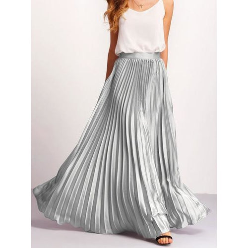 Silver Oversized Maxi Skirt