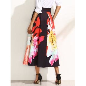 Black Button Side Maxi Skirt