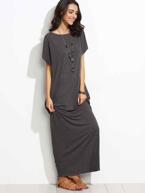 Grey Round Neck  Side Pocket Batwing Cocoon Maxi Dress