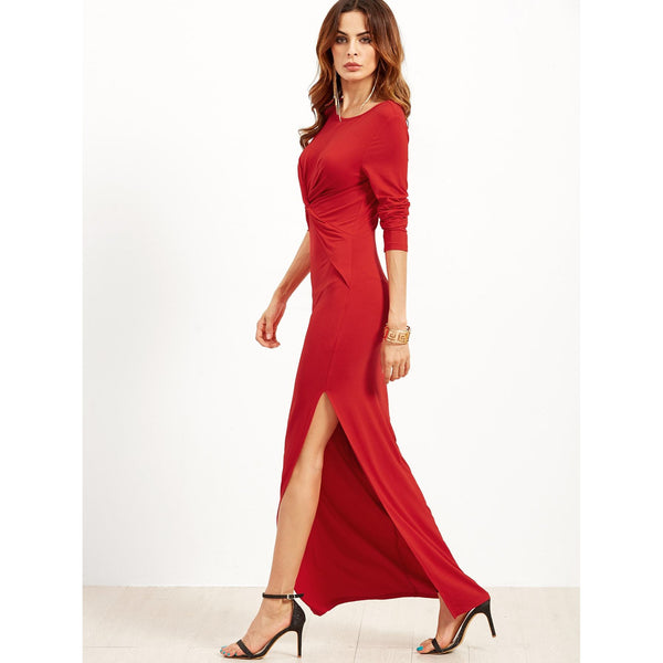 Red Long Sleeve Twist Front Slit Maxi Dress