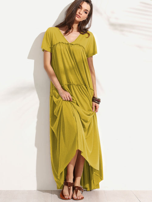 Mustard Double V Neck Maxi Dress