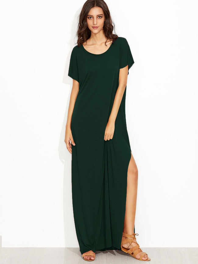 Fun Casual Side Split Tee Maxi Dress