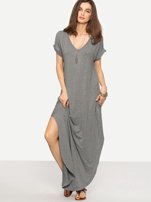 Rolled-cuff Pockets Maxi  Dress