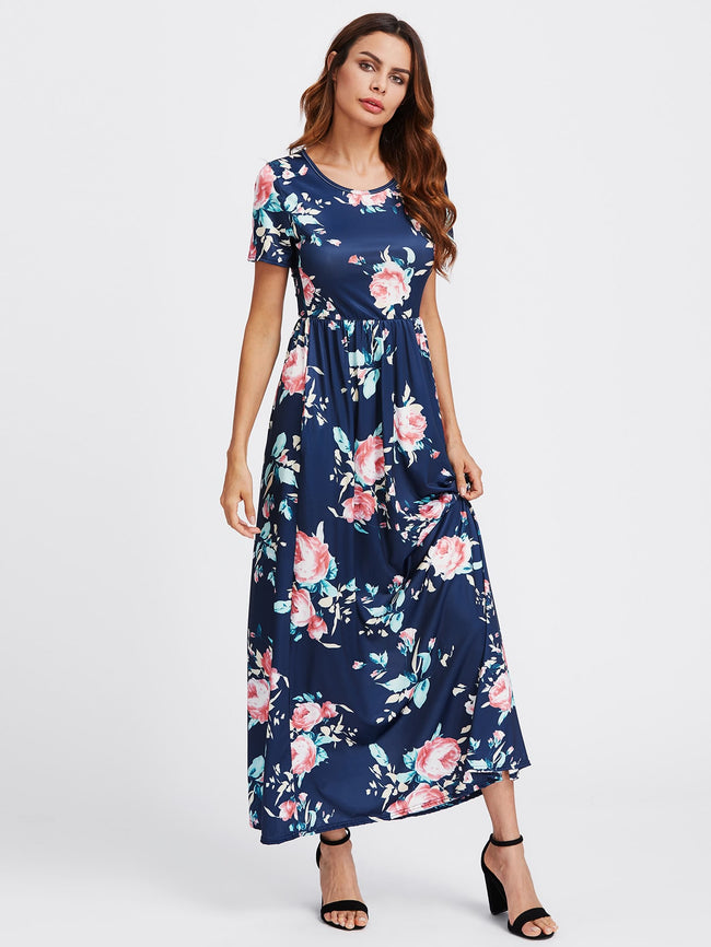 Blue Flower Print Maxi Dress