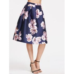 Blue Flower Print Pleated -A-Line Skirt