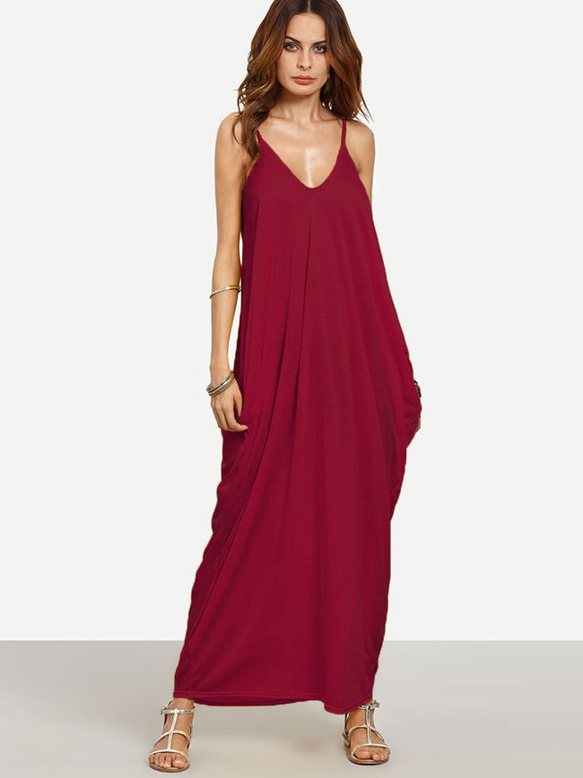 Ginger V-neckline Cocoon Cami Sleeveless Maxi Dress