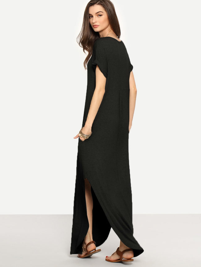 Rolled-cuff Pockets Side Split Curved Dress
